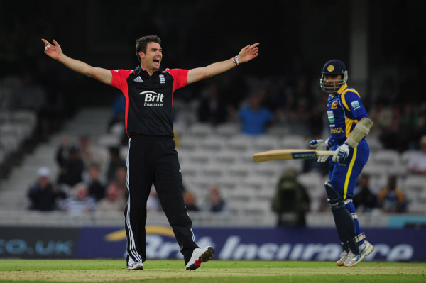 Jimmy Anderson takes the key wicket of Jayawardene