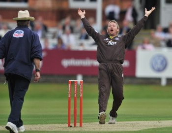Schofield tumbles over in surprise at the thought of actually taking a wicket