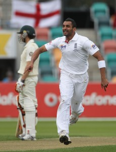 Shahzad celebrates dismissing Usman Khawaja, back when that was still considered to be regicide.