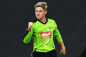 Zampa celebrates the Thunder losing a Big Bash game by less than a innings.