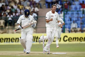 A familiar sight for Sachin. Meanwhile Tim Southee celebrates not getting bowled out for 45