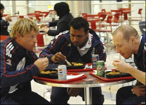 Ian Bell just about managed to get a small portion of lasagne before Samit filled his extra special large plate.