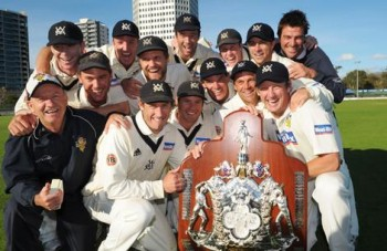The Bushrangers celebrate their Sheffield Shield win.