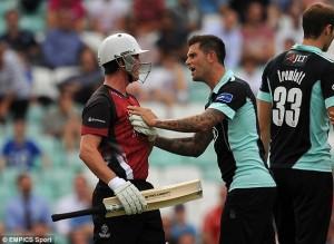 Jade greets the new batsman with customary grace