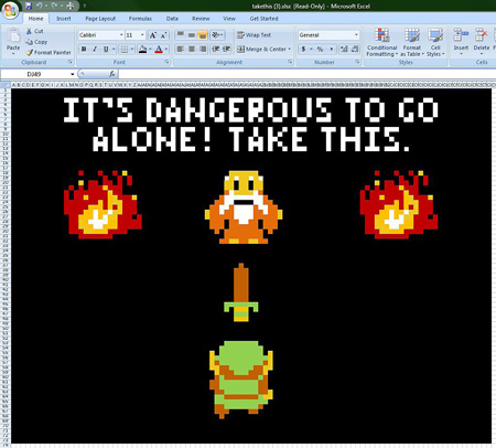 The Legend of Zelda in spreadsheet form: possibly the pinnacle of mankind's evolution.